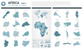 Insieme delle mappe di vettore Il livello ha dettagliato 46 mappe dei paesi africani con divisione amministrativa e le città Mapp illustrazione vettoriale