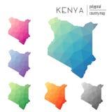 Insieme delle mappe poligonali del Kenya di vettore Fotografia Stock