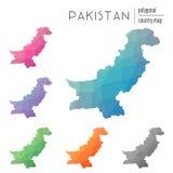 Insieme delle mappe poligonali del Pakistan di vettore Fotografie Stock