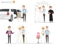 Insieme delle maschere, della sposa e dello sposo di cerimonia nuziale nell'amore Fotografia Stock Libera da Diritti