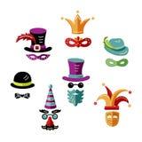 Insieme delle mascherine di carnevale royalty illustrazione gratis