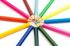Insieme delle matite colorate su bianco Fotografie Stock Libere da Diritti