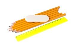 Insieme delle matite, del righello e della gomma comuni Immagine Stock Libera da Diritti