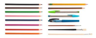 Insieme delle matite e dei pennelli Fotografia Stock Libera da Diritti