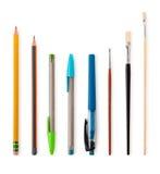 Insieme delle matite e dei pennelli Immagine Stock