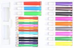 Insieme delle matite e delle penne del feltro Fotografia Stock Libera da Diritti