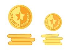 Insieme delle medaglie dorate Vettore illustrazione di stock
