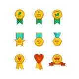 Insieme delle medaglie e delle etichette piane Immagini Stock Libere da Diritti