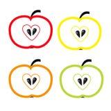 Insieme delle mele di colore con forma del cuore. Isolato. Fotografia Stock Libera da Diritti