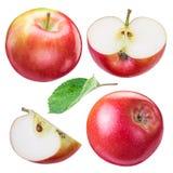 Insieme delle mele e delle fette rosse mature della mela Fotografia Stock Libera da Diritti