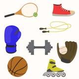 Insieme delle merci di sport Immagini Stock