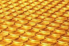 Insieme delle monete da metallo giallo Fotografia Stock