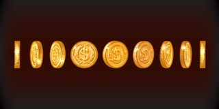 Insieme delle monete di oro con il simbolo del dollaro nelle posizioni differenti Schizzo dei soldi di metallo brillanti agli ang royalty illustrazione gratis