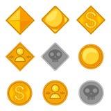 Insieme delle monete differenti di tema del gioco illustrazione vettoriale
