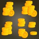 Insieme delle monete per UI Fotografia Stock Libera da Diritti