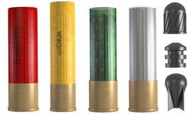 Insieme delle munizioni del fucile da caccia 3d illustrazione vettoriale