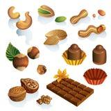 Insieme delle noci e dei dolci del cioccolato Fotografie Stock Libere da Diritti