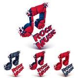 Insieme delle note musicali di vettore rosso e nero 3d create Immagini Stock