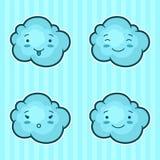 Insieme delle nuvole di kawaii con differenti espressioni facciali Fotografia Stock