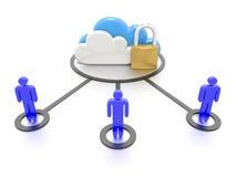 Insieme delle nuvole e di un lucchetto, archiviazione di dati sicura Immagini Stock