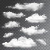 Insieme delle nuvole realistiche trasparenti Illustrazione di vettore Fotografie Stock Libere da Diritti