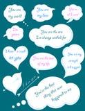 Insieme delle nuvole romantiche con le dichiarazioni di amore Illustr di vettore Immagine Stock Libera da Diritti