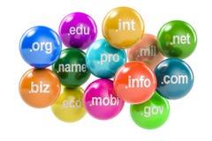 Insieme delle palle colorate con i Domain Name, rappresentazione 3D Fotografia Stock Libera da Diritti
