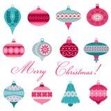 Insieme delle palle d'annata dell'albero di Natale Fotografie Stock