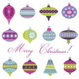 Insieme delle palle d'annata dell'albero di Natale Fotografie Stock Libere da Diritti