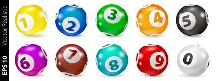 Insieme delle palle di numero colorate lotteria 0-9 Fotografia Stock Libera da Diritti