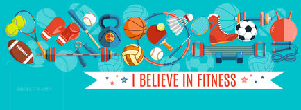 Insieme delle palle di sport e degli oggetti di gioco ad un fondo del turchese Strumenti sani di stile di vita, elementi Illustra Immagine Stock Libera da Diritti