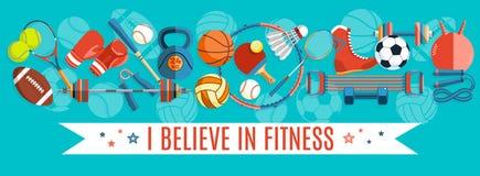 Insieme delle palle di sport e degli oggetti di gioco ad un fondo del turchese Strumenti sani di stile di vita, elementi Illustra Immagini Stock Libere da Diritti