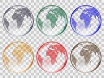 Insieme delle palle di vetro trasparenti sotto forma di pianeta Terra dei colori differenti Fotografia Stock