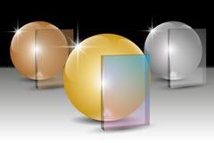 Insieme delle palle dorate, d'argento e bronzee e del pnel della trasparenza per testo royalty illustrazione gratis