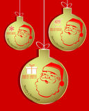 Insieme delle palle dorate di Natale con il pupazzo di neve illustrazione di stock