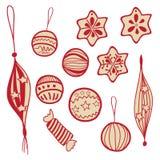 Insieme delle palle e dei dolci di doodle di festa Fotografie Stock Libere da Diritti