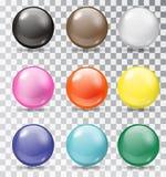 Insieme delle palle lucide su un fondo trasparente Immagine Stock