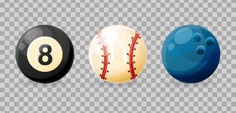 Insieme delle palle realistiche dell'articolo sportivo per il biliardo, bowling, baseball Fotografie Stock Libere da Diritti
