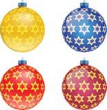 Insieme delle palle variopinte di Natale, illustrazione Fotografia Stock Libera da Diritti