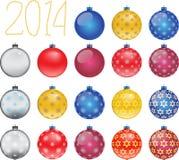 Insieme delle palle variopinte di Natale, illustrazione Immagine Stock