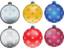 Insieme delle palle variopinte di Natale, illustrazione Fotografia Stock