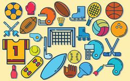 Insieme delle palle variopinte di sport e degli oggetti di gioco ad un fondo del turchese Palle per rugby, pallavolo, pallacanest illustrazione vettoriale