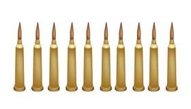 Insieme delle pallottole del fucile su fondo bianco Immagini Stock Libere da Diritti