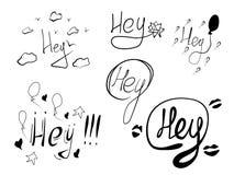 Insieme delle parole disegnate a mano Hey illustrazione di vettore illustrazione di stock