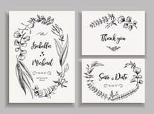 Insieme delle partecipazioni di nozze con le foglie e le erbe Immagini Stock