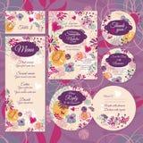 Insieme delle partecipazioni di nozze floreali Fotografie Stock Libere da Diritti