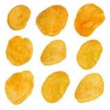 Insieme delle patatine fritte degli elementi di progettazione Fotografia Stock