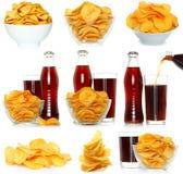 Insieme delle patatine fritte e della bevanda della cola Fotografia Stock Libera da Diritti