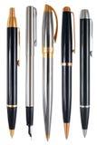 Insieme delle penne con i percorsi di ritaglio. Fotografia Stock