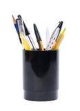 Insieme delle penne con il basamento Fotografie Stock Libere da Diritti